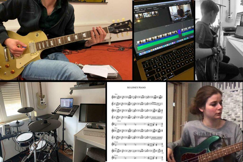 Collage van Online drumles, zangles en gitaarles